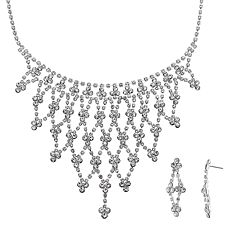 Crystal Allure Openwork Bib Necklace & Kite Drop Earring Set
