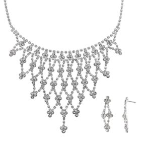 Crystal Allure Openwork Bib Necklace and Kite Drop Earring Set