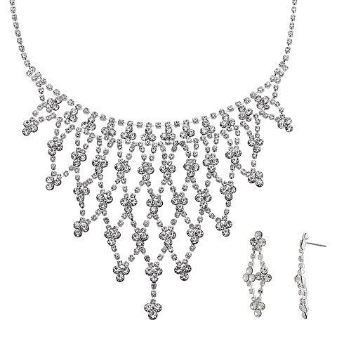 Crystal Allure Openwork Bib Necklace & Kite Drop Earring Set