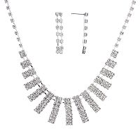 Crystal Allure Bar Bib Necklace & Linear Drop Earring Set