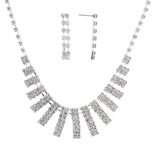 Crystal Allure Bar Bib Necklace & Linear Drop Earring Set