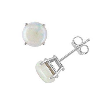 10k White Gold Opal Stud Earrings