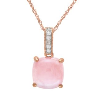 10k Rose Gold Pink Opal and Diamond Accent Pendant