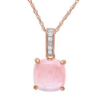 10k Rose Gold Pink Opal & Diamond Accent Pendant