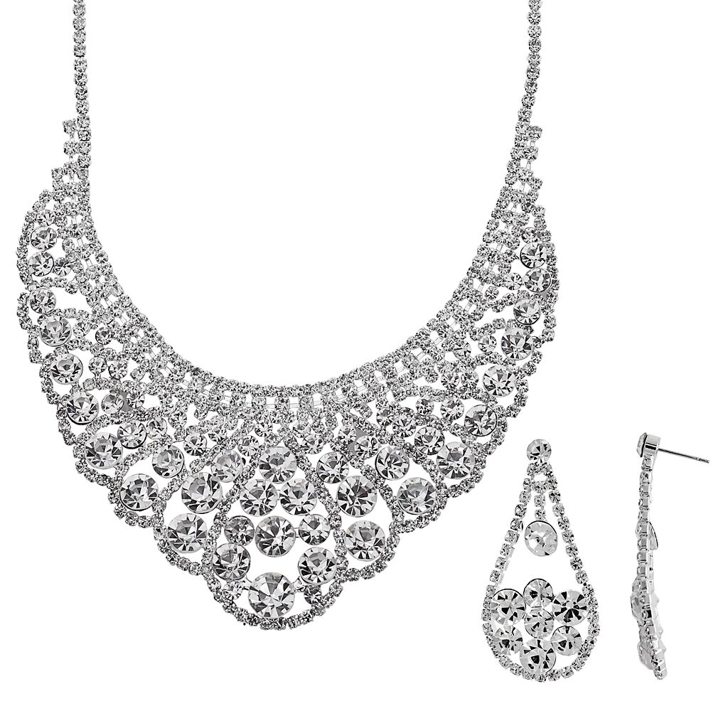 Crystal Allure Bib Necklace & Teardrop Earring Set