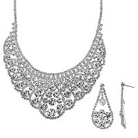 Crystal Allure Bib Necklace & Teardrop Earring Set