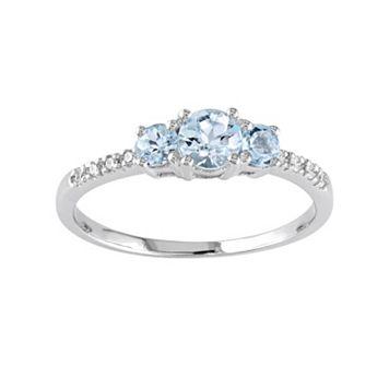 10k White Gold Aquamarine & Diamond Accent 3-Stone Ring