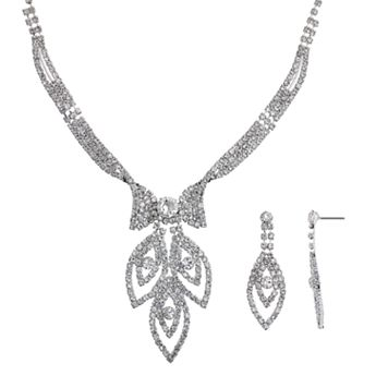 Crystal Allure Leaf Necklace & Drop Earring Set
