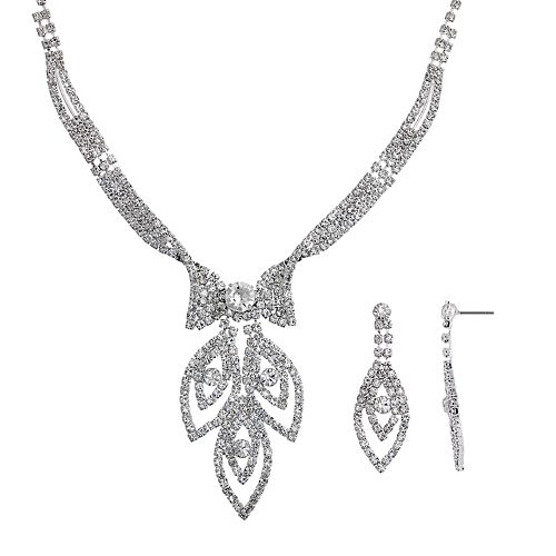 Crystal Allure Leaf Necklace & Drop Earring Set