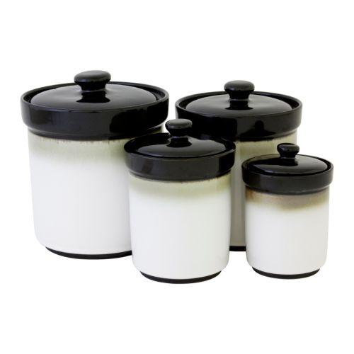sango nova black 4 pc kitchen canister set