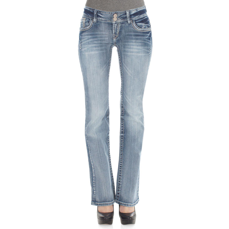 Juniors Wallflower 2-Button Curvy Bootcut Jeans