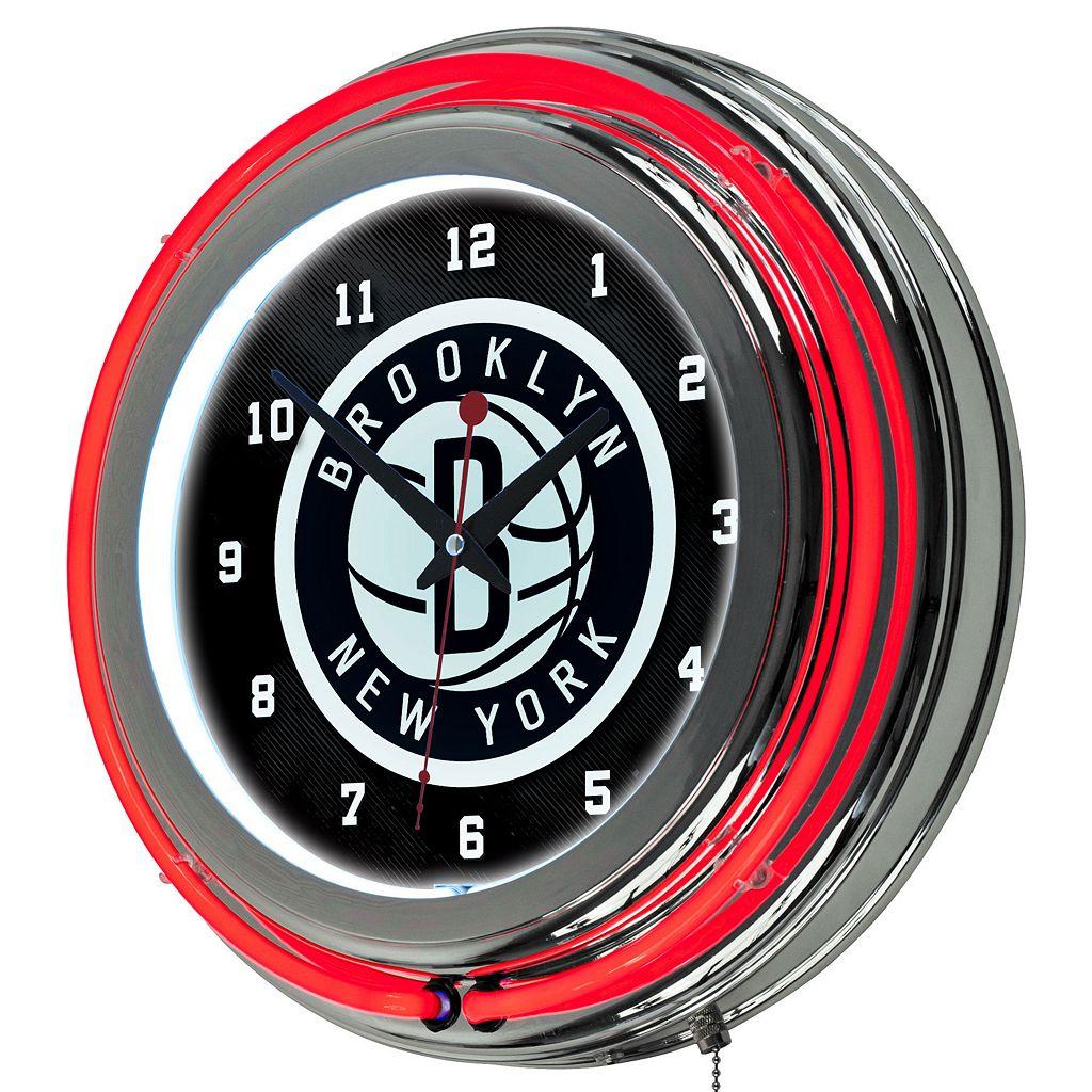 Brooklyn Nets Chrome Double-Ring Neon Wall Clock