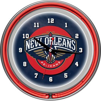 New Orleans Pelicans Chrome Double-Ring Neon Wall Clock