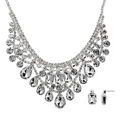 Crystal Allure Bib Necklace & Stud Earring Set