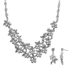 Crystal Allure Flower Necklace & Drop Earring Set