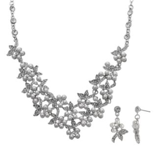 Crystal Allure Flower Necklace and Drop Earring Set