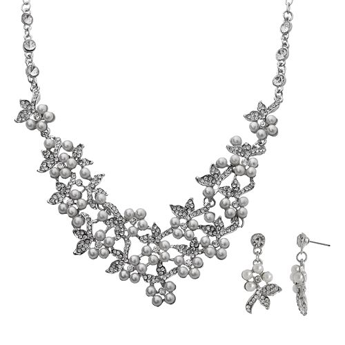 Crystal Allure Flower Necklace & Drop Earring Set