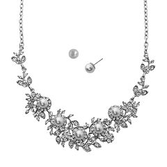 Crystal Allure Flower Necklace & Stud Earring Set