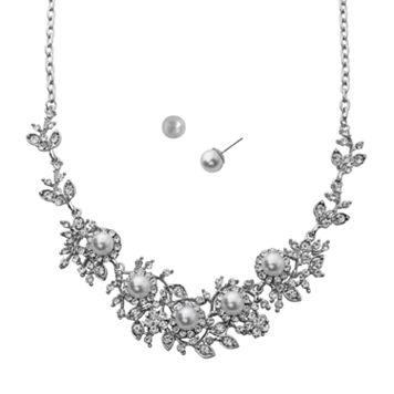 Crystal Allure Flower Necklace & Stud Earring Set