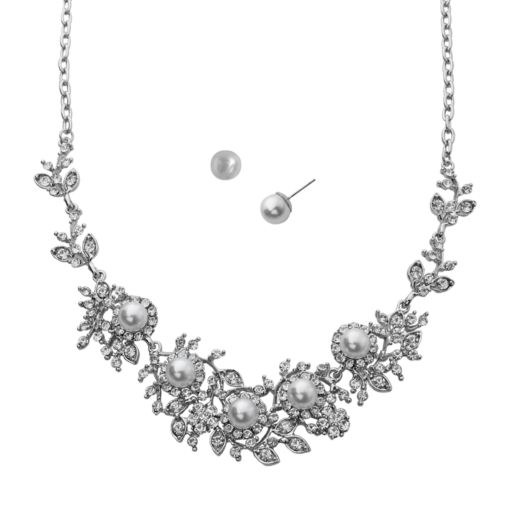 Crystal Allure Flower Necklace and Stud Earring Set