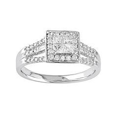 Stella Grace Diamond Square Halo Engagement Ring in 10k White Gold (1/2 ct. T.W.)
