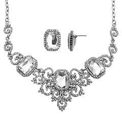 Crystal Allure Bib Necklace & Stud Earring Set