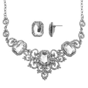 Crystal Allure Bib Necklace and Stud Earring Set
