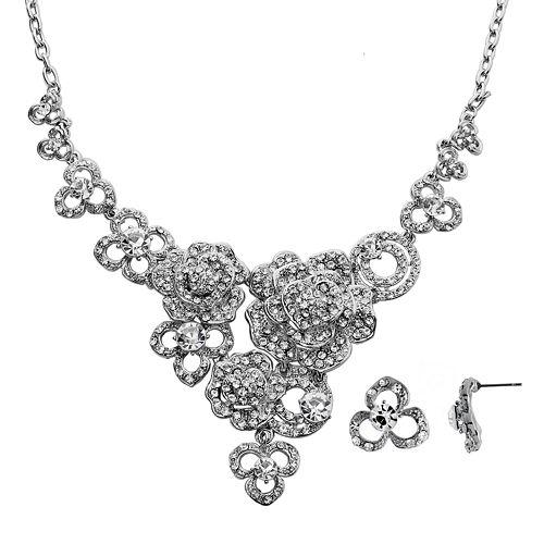 Crystal Allure Flower Bib Necklace & Stud Earring Set