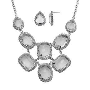 Crystal Allure Teardrop Bib Necklace and Stud Earring Set
