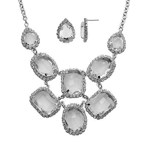 Crystal Allure Teardrop Bib Necklace & Stud Earring Set