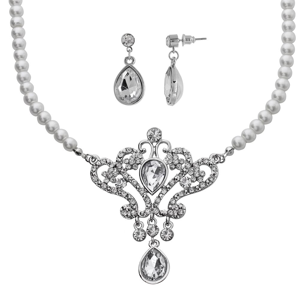 Crystal Allure Crown Teardrop Necklace & Earring Set