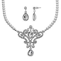 Crystal Allure Crown Teardrop Necklace & Earring Set