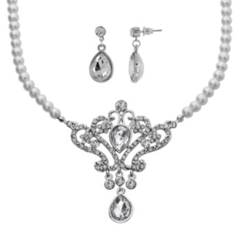 Crystal Allure Crown Teardrop Necklace and Earring Set