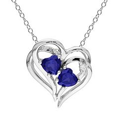 Stella Grace Sterling Silver Lab-Created Sapphire and Diamond Accent Heart Pendant