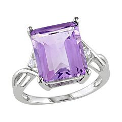Stella Grace Sterling Silver Amethyst and White Topaz Twist Ring