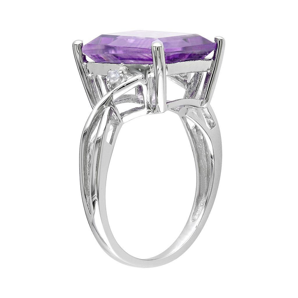 Sterling Silver Amethyst and White Topaz Twist Ring