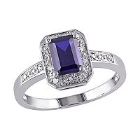 Sterling Silver Lab-Created Sapphire & Diamond Accent Octagonal Halo Ring
