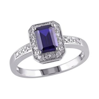 Stella Grace Sterling Silver Lab-Created Sapphire and Diamond Accent Octagonal Halo Ring