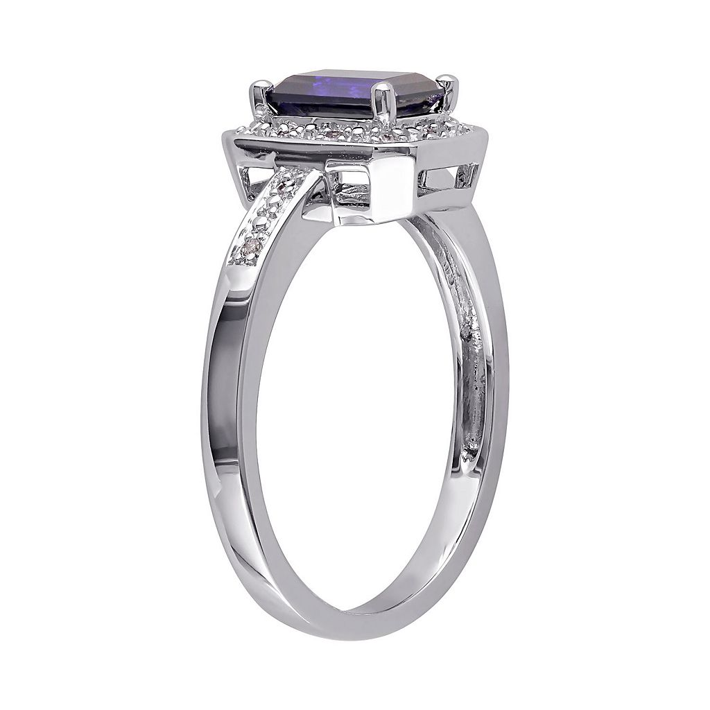 Sterling Silver Lab-Created Sapphire and Diamond Accent Octagonal Halo Ring