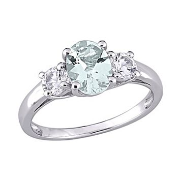 Sterling Silver Aquamarine & Lab-Created White Sapphire 3-Stone Ring