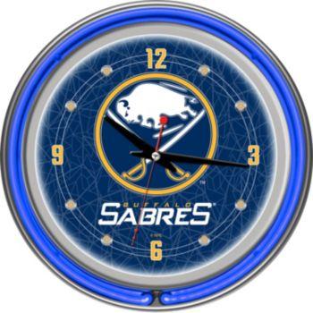 Buffalo Sabres Chrome Double-Ring Neon Wall Clock