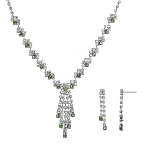 Crystal Allure Fringe Y Necklace and Linear Drop Earrings