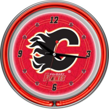 Calgary Flames Chrome Double-Ring Neon Wall Clock