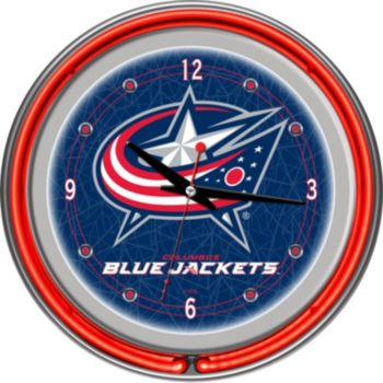 Columbus Blue Jackets Chrome Double-Ring Neon Wall Clock