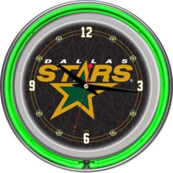 Dallas Stars Chrome Double-Ring Neon Wall Clock