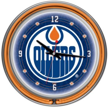 Edmonton Oilers Chrome Double-Ring Neon Wall Clock