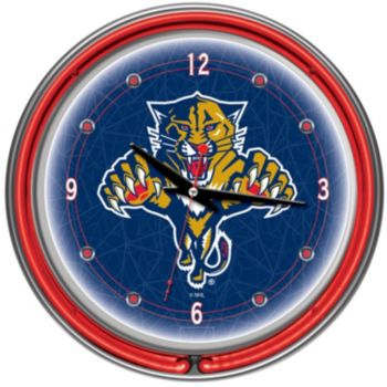 Florida Panthers Chrome Double-Ring Neon Wall Clock