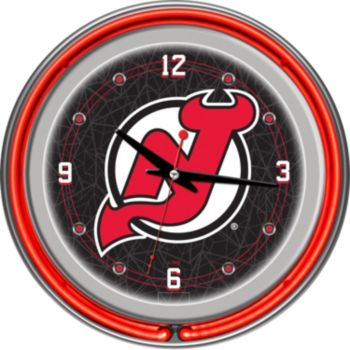New Jersey Devils Chrome Double-Ring Neon Wall Clock