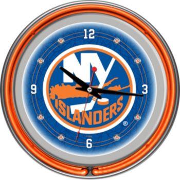 New York Islanders Chrome Double-Ring Neon Wall Clock