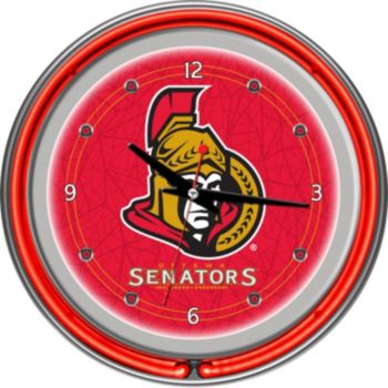 Ottawa Senators Chrome Double-Ring Neon Wall Clock